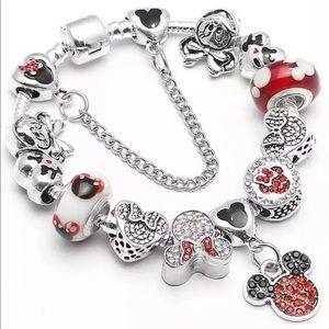 New 925 Mickey Mouse Charm Bracelet European Beads